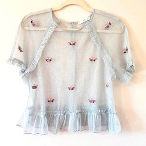 Mango silver mesh butterfly embroidered top